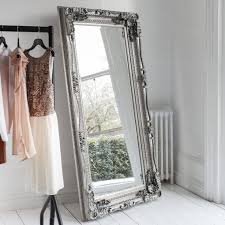 decorative silver full length mirror