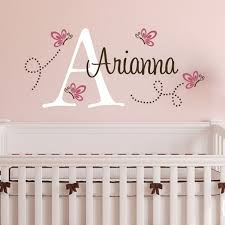 Poka Dot Butterflies Monogram Vinyl Wall Decal Butterfly Nursery
