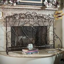 wrought iron fireplace screen metal