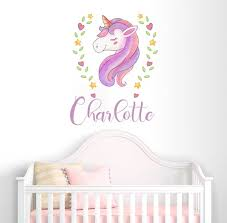 Personalized Girls Name Unicorn Wall Decal Colorful Custom Etsy
