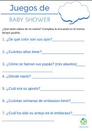 juegos para baby shower plantillas