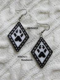wolf paw beaded earrings native