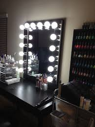 studio makeup table with lights