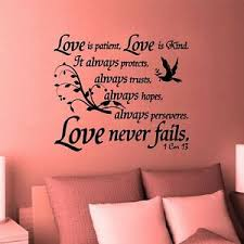 Wall Decal Bible Scripture 1 Corinthians 13 4 Love Is Patience Kind Never Fails Ebay