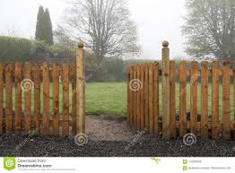 Open Wooden Gate And Fence Leading Into A Garden Stock Photo Image Of Rural Beauty 116285828