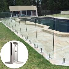 Stainless Steel Clamp Support Bracket Floor Mount Posts For Frameless Glass Pool Fence Balustrade Railing Post