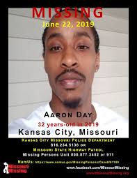 Missouri Missing - Date Missing: June 22, 2019 Aaron Day has not been seen  since Saturday, June 22 in the area of 17th and Kansas Avenue around 1 p.m.  He has black