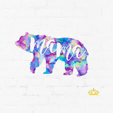 Amazon Com Mama Bear Silhouette Mom Quote Vinyl Decal Cute Mama Sticker For Yeti Tumbler Laptop Mug Car Window Accessories For Women Gift For Mom Purple Watercolor 2 Inches X 3 5 Inches Handmade
