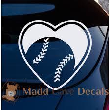 Love Baseball Heart Decal