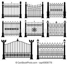 Decorative Wrought Fences And Gates Vector Set Black Silhouette Fence Frame Illustration Canstock