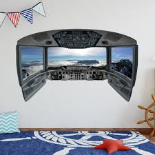 Airplane Cockpit Wall Decal Plane Window Sticker Kids Room Vinyl Dec