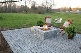 paver patio with a built in fire pit