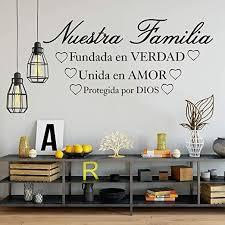 Amazon Com Bidsu Vinyl Wall Statement Family Diy Decor Art Stickers Home Decor Wall Art Spanish Quote Wall Decal Nestra Familia Fundada En Verdad Unida En Amor Wall Sticker For Living Room Bedroom