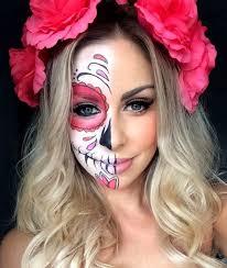 cute sugar skull makeup half face