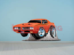 Car Art Gto Muscle Car Cartoon Wall Decal Let S Print Big