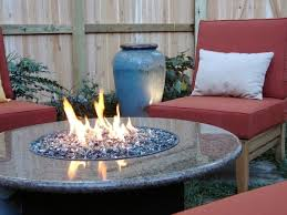 outdoor gas fire pit glass rocks modern