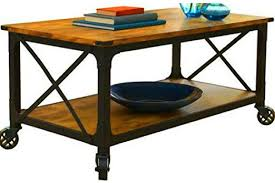 rolling coffee table with shelf wooden