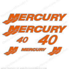 Mercury 40hp Decals Custom 2 Color Any Color