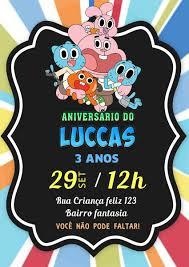 Convite O Incrivel Mundo De Gumball Digital Em 2020 Incrivel