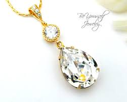 gold bridal necklace white crystal