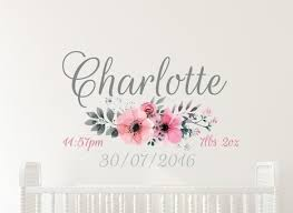 Flower Date Of Birth Name Wall Decal Wa