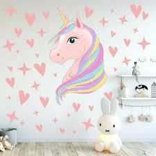 Removable Unicorn Wall Stickers Rainbow Kids Girls Room Stars Nursery Diy Decor For Sale Online Ebay