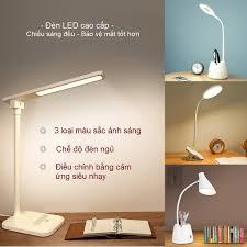 BH 1 Năm] Đèn Bàn LED Đọc Sách Cho Học Sinh Chống Cận Xoay 360 Độ, Pin Sạc  USB