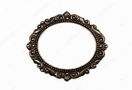 bronze oval frame separately on a white
