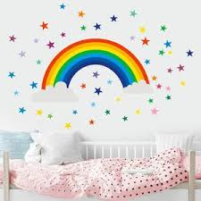 Colorful Stars Big Rainbow Wall Stickers Gallery Wallrus Free Worldwide Shipping