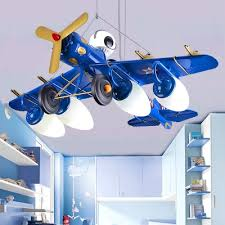 5 Lights Prop Plane Hanging Lamp Children Bedroom Metallic Suspended Lamp In Blue Black Yellow Red Beautifulhalo Com
