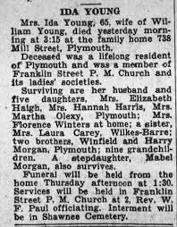 Obituary of Mrs. Ida Young (nee Morgan) - Newspapers.com