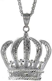 sterling silver crown pendant 2 inch