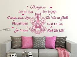 Eiffel Tower Wall Decal Bonjour Wall Decal Paris Wall Art Paris Wall Decor Eiffel Tower Decal French Sayings Paris Room Decor
