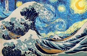 starry night hokusai vincent van gogh