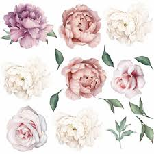 Large Pink Peony Flower Wall Stickers Romantic Flowers Home Decor Wall Decal Mural For Bedroom Living Room Wallpaper Muursticker Wall Stickers Aliexpress
