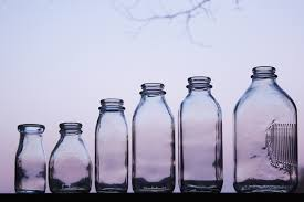 glass milk bottles bucket