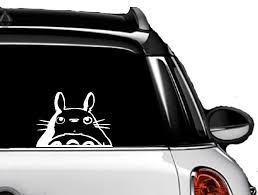 Amazon Com M Totoro Head Car Window Decal White 4 75 High Automotive