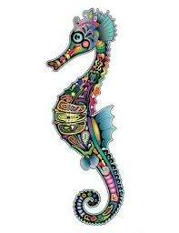 Sea Horse Sticker Decal For Car Laptop Window Colourful Sugar Skull Style Ebay