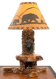 lodge table lamp bear mount the base