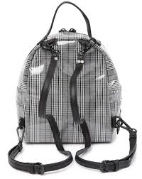plaid mini gray faux leather backpack
