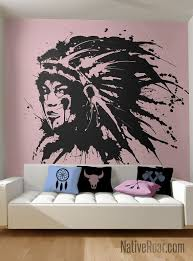 Native American Woman Ink Wall Decal First Nations Indian Tribal Pride Cherokee Navajo Siou Native American Decor Native American Bedroom Native American Women