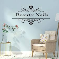 Nail Beauty Quote Vinyl Wall Sticker Nails Wallpaper For Beauty Salon Decor Wall Decals For Girl Bedroom Art Wall Stickers Wall Stickers Aliexpress