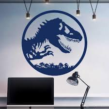 Jurassic Park Logo Wall Decal Jurassic World Art Sticker Tyrannosaurus Rex Vinyl Decals For Kids Room Boys Bedroom Decor Large Vinyl Wall Decals Large Wall Art Decals From Joystickers 12 66 Dhgate Com