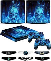 Amazon Com Ps4 Slim Skins Decals For Ps4 Controller Playstation 4 Slim Stickers Cover For Ps4 Slim Controller Sony Playstation Four Slim Accessories With Dualshock 4 Two Controllers Skin Blue Fire Electronics