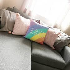 rainbow love slogan cushion home george