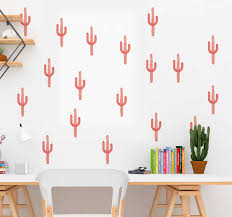Coral Cactus Print Plant Wall Sticker Tenstickers
