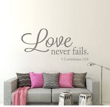 Amazon Com Battoo Love Never Fails Vinyl Wall Decal Bible Verse Quote Decal 22 W 10 5 H Vinyl Lettering Love Wall Decal Quote Wedding Gift Dark Gray Furniture Decor