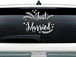 Just Married Window Car Decal Sign Vinyl Ebay