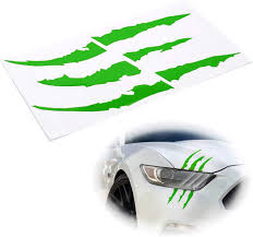 Amazon Com Ijdmtoy 1 Reflective Green Headlight Eye Scar Or Claw Scratch Shape Vinyl Decal Set Compatible With Car Truck Suv Automotive
