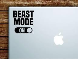 Beast Mode On Laptop Decal Sticker Vinyl Art Quote Macbook Apple Decor Boop Decals